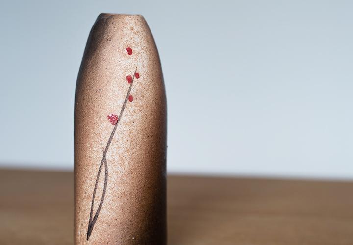 赤絵ミニ筒花器03