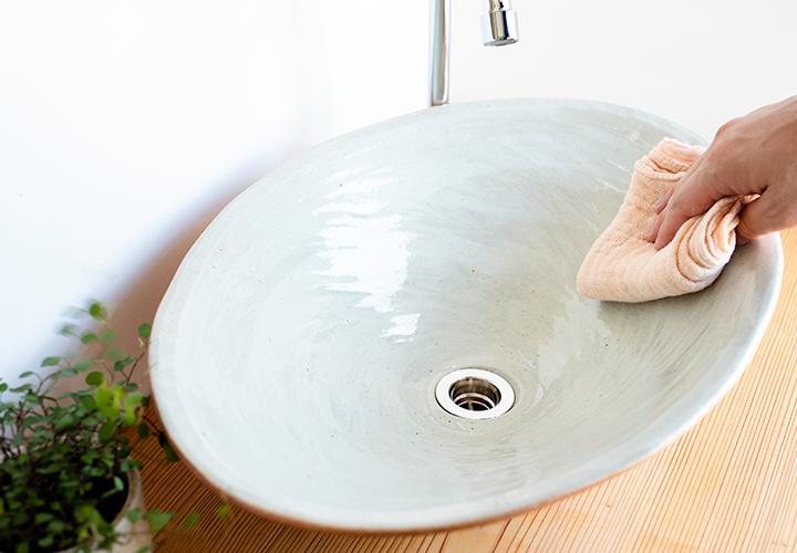 火色楕円手洗鉢(大)のメンテナンス
