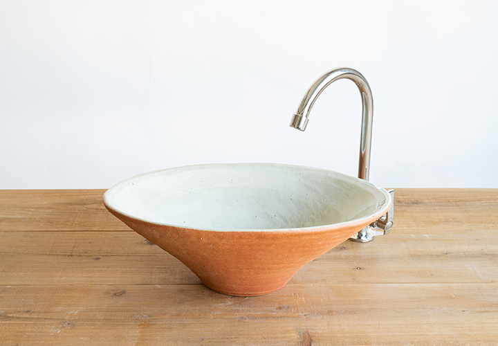 火色楕円手洗鉢(中)のメイン画像
