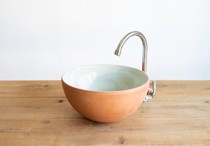 火色丸型手洗鉢のメイン画像
