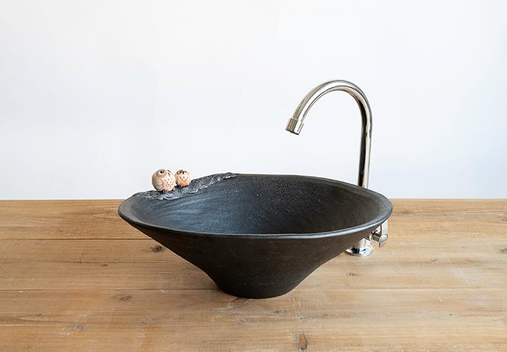 仲良しふくろう楕円手洗鉢(中)のメイン画像