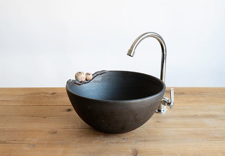 仲良しふくろう丸型手洗鉢のメイン画像