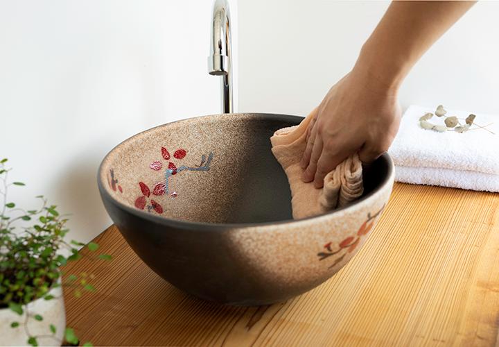 赤絵付楕円手洗鉢(φ30cm)のメンテナンス