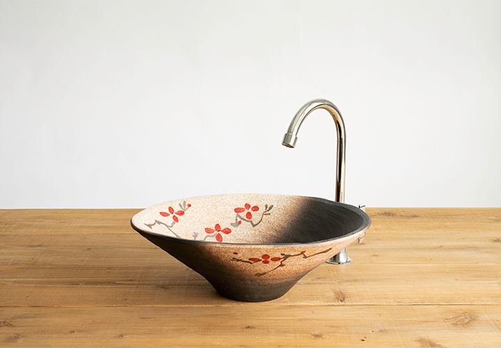 赤絵付楕円手洗鉢(W40cm)のメイン画像