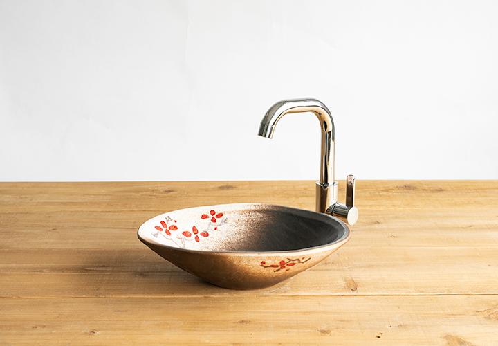 火色楕円手洗鉢(小)のメイン画像