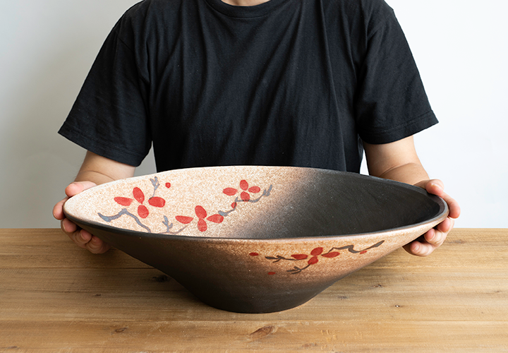 赤絵付楕円手洗鉢(W50cm)のサイズ感